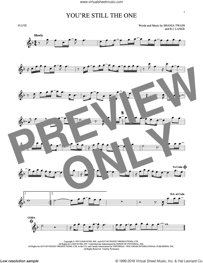 You're Still The One sheet music for flute solo by Shania Twain and Robert John Lange, intermediate skill level