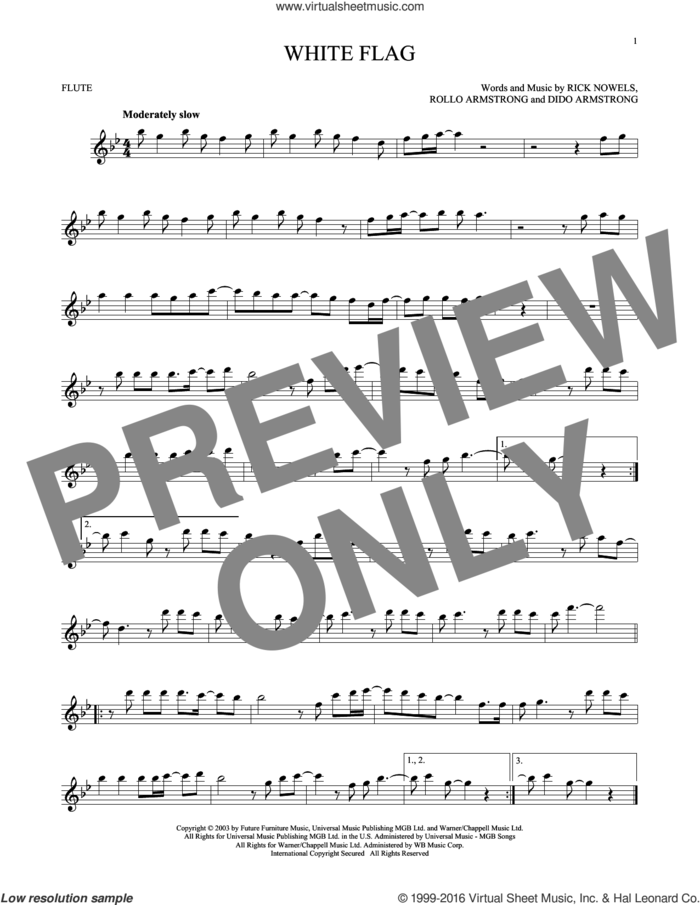 White Flag sheet music for flute solo by Dido Armstrong, Rick Nowels and Rollo Armstrong, intermediate skill level