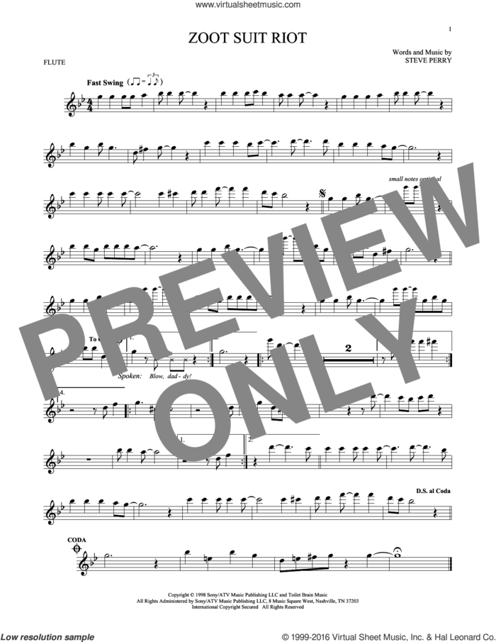 Zoot Suit Riot sheet music for flute solo by Cherry Poppin' Daddies and Steve Perry, intermediate skill level
