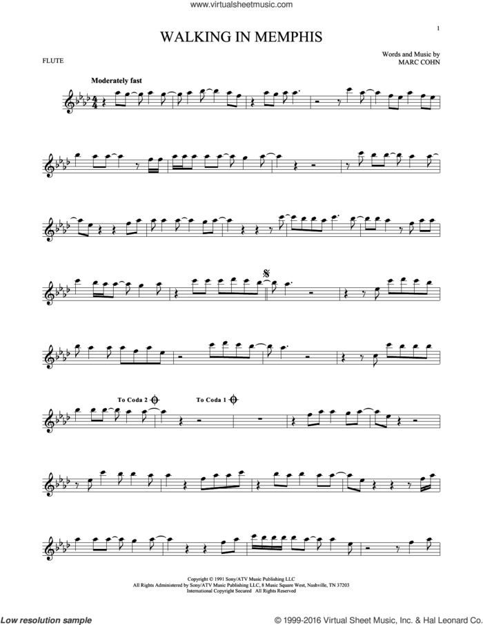 Walking In Memphis sheet music for flute solo by Marc Cohn and Lonestar, intermediate skill level