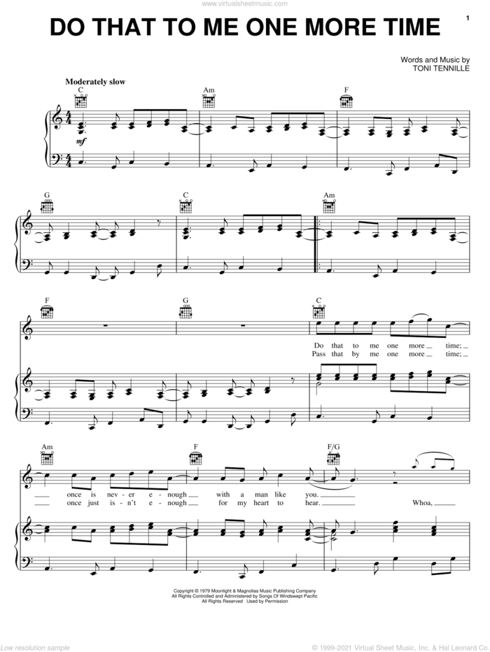 Do That To Me One More Time sheet music for voice, piano or guitar by Captain & Tennille and Toni Tennille, intermediate skill level