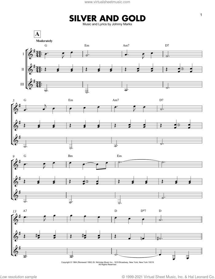 Silver And Gold sheet music for guitar ensemble by Johnny Marks, intermediate skill level