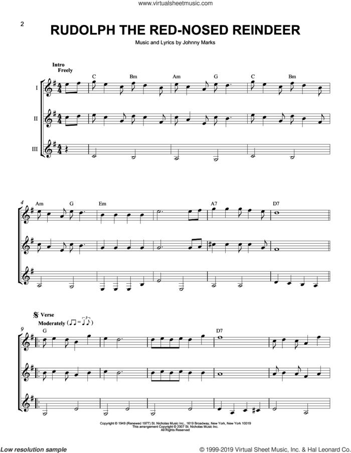 Rudolph The Red-Nosed Reindeer sheet music for guitar ensemble by Johnny Marks, J Arnold and John Denver, intermediate skill level