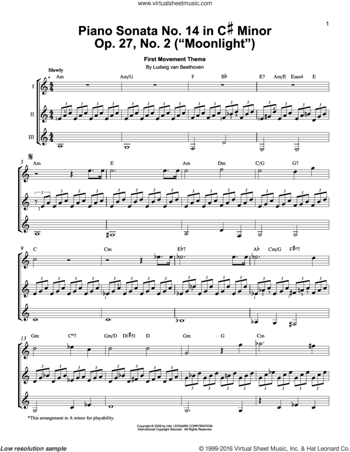 Piano Sonata No. 14 In C# Minor (Moonlight) Op. 27 No. 2 First Movement Theme sheet music for guitar ensemble by Ludwig van Beethoven, classical score, intermediate skill level