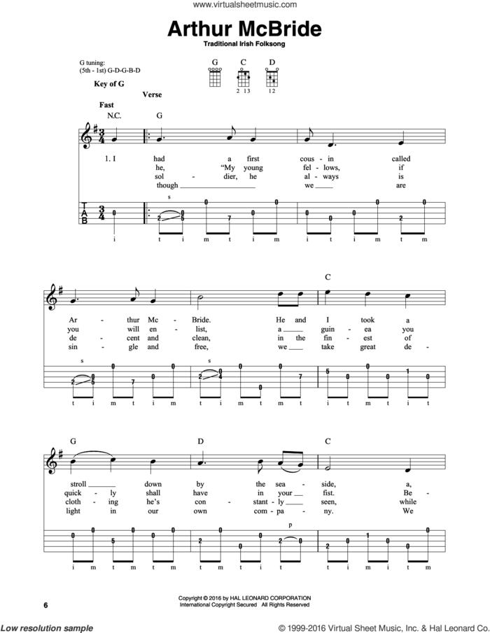 Arthur McBride sheet music for banjo solo, intermediate skill level