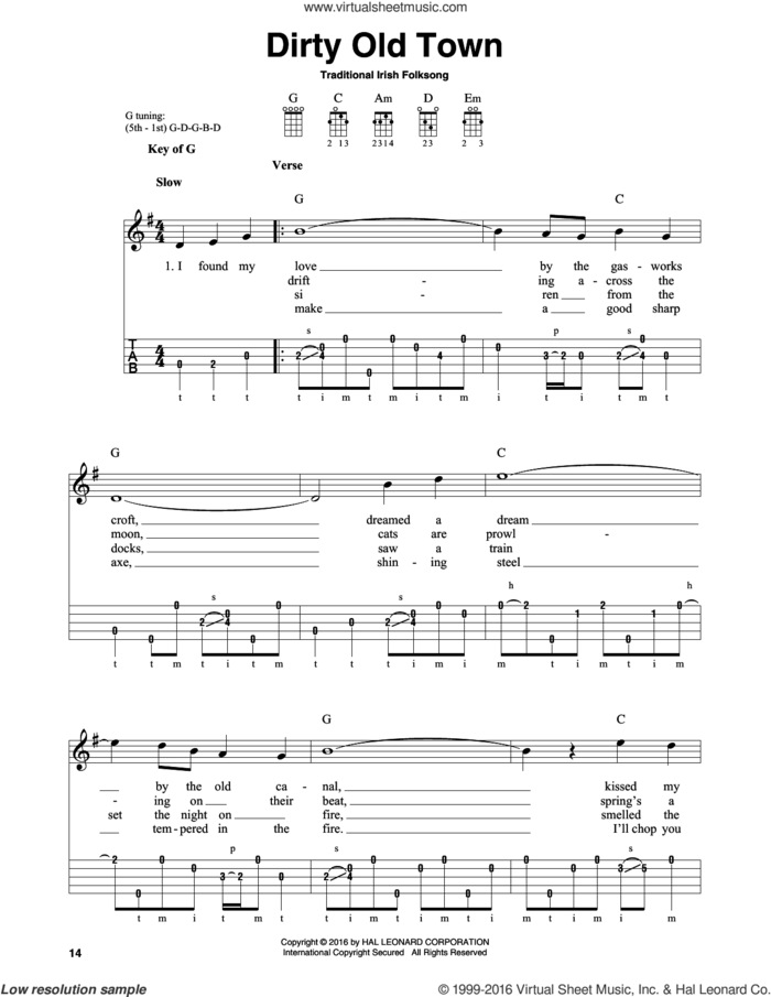 Dirty Old Town sheet music for banjo solo, intermediate skill level