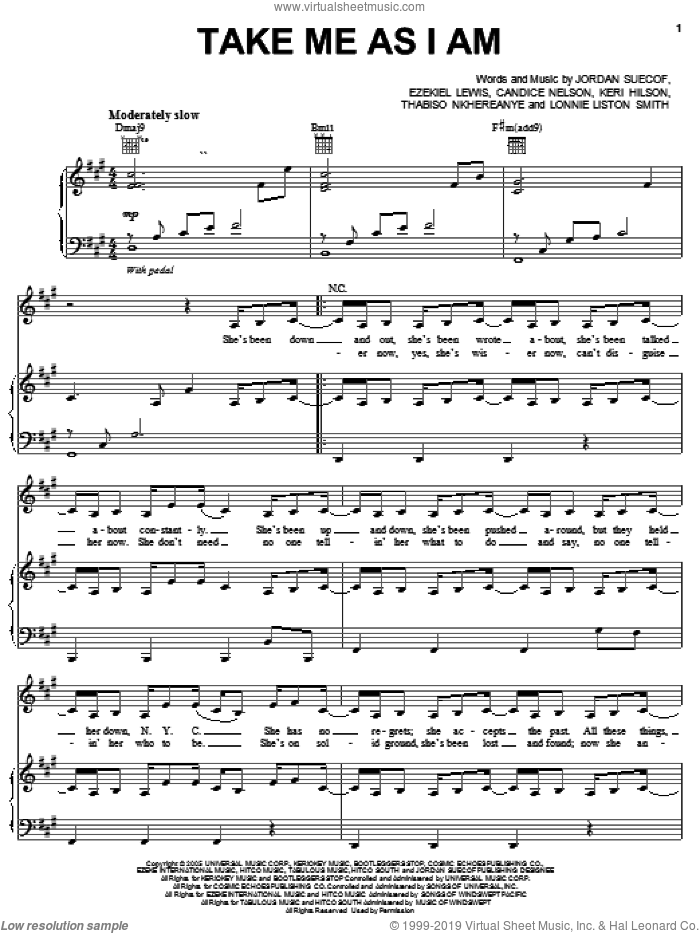 Take Me As I Am sheet music for voice, piano or guitar by Mary J. Blige, Candice Nelson, Ezekiel Lewis, Jordan Suecof, Keri Hilson, Lonnie Liston Smith and Thabiso Nkhereanye, intermediate skill level
