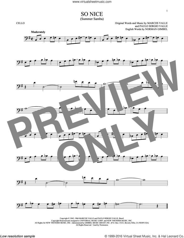 So Nice (Summer Samba) sheet music for cello solo by Marcos Valle, Walter Wanderley, Norman Gimbel and Paulo Sergio Valle, intermediate skill level