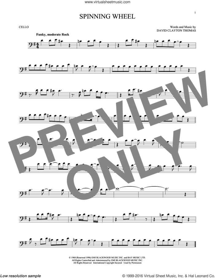 Spinning Wheel sheet music for cello solo by Blood, Sweat & Tears and David Clayton Thomas, intermediate skill level