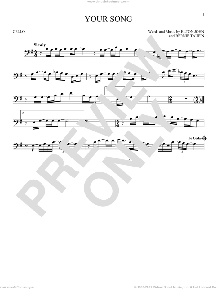 Your Song sheet music for cello solo by Elton John, Rod Stewart and Bernie Taupin, intermediate skill level