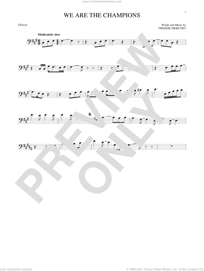 We Are The Champions sheet music for cello solo by Queen and Freddie Mercury, intermediate skill level