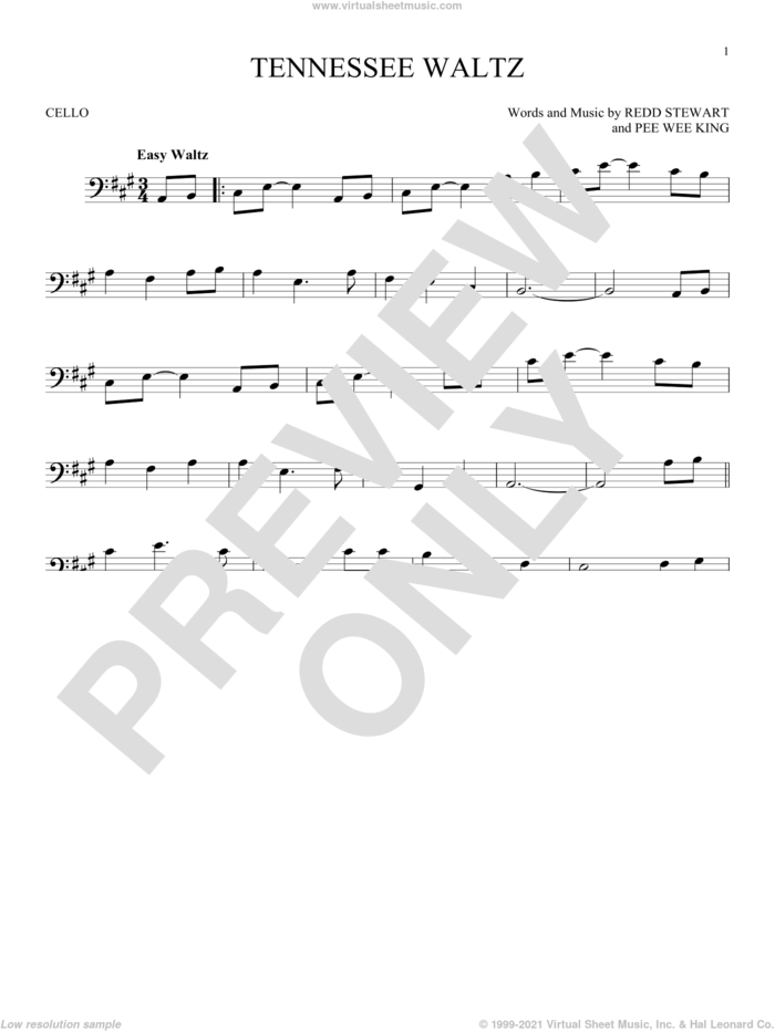 Tennessee Waltz sheet music for cello solo by Patty Page, Patti Page, Pee Wee King and Redd Stewart, intermediate skill level