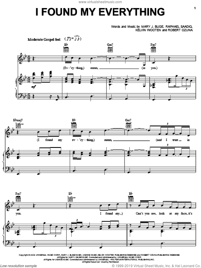I Found My Everything sheet music for voice, piano or guitar by Mary J. Blige, Kelvin Wooten, Raphael Saadiq and Robert Ozuna, intermediate skill level