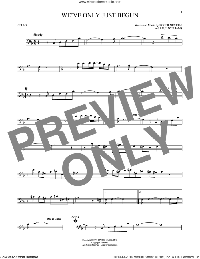 We've Only Just Begun sheet music for cello solo by Carpenters, Paul Williams and Roger Nichols, intermediate skill level