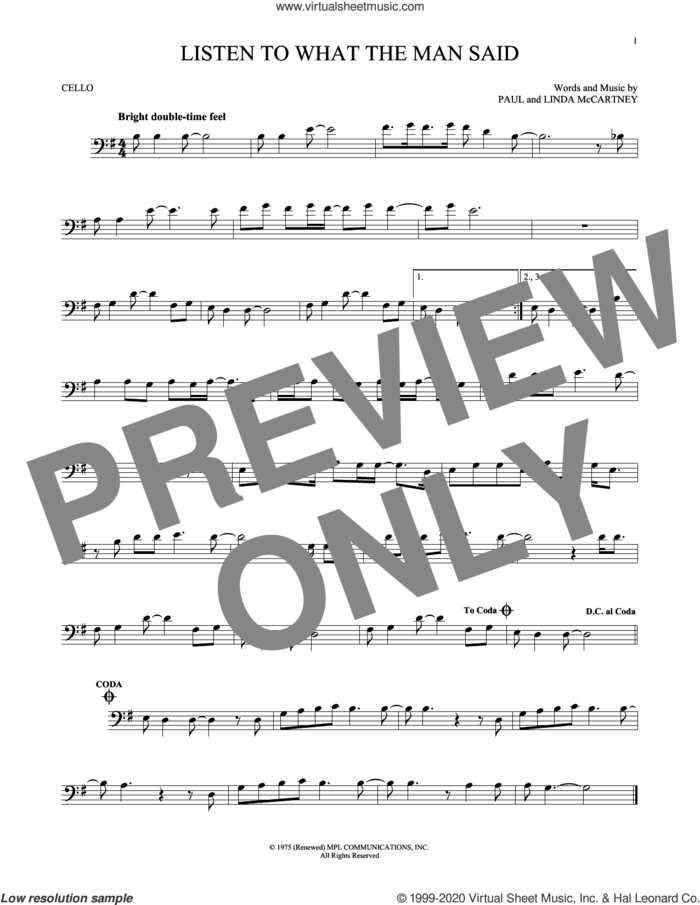 Listen To What The Man Said sheet music for cello solo by Wings, Linda McCartney and Paul McCartney, intermediate skill level