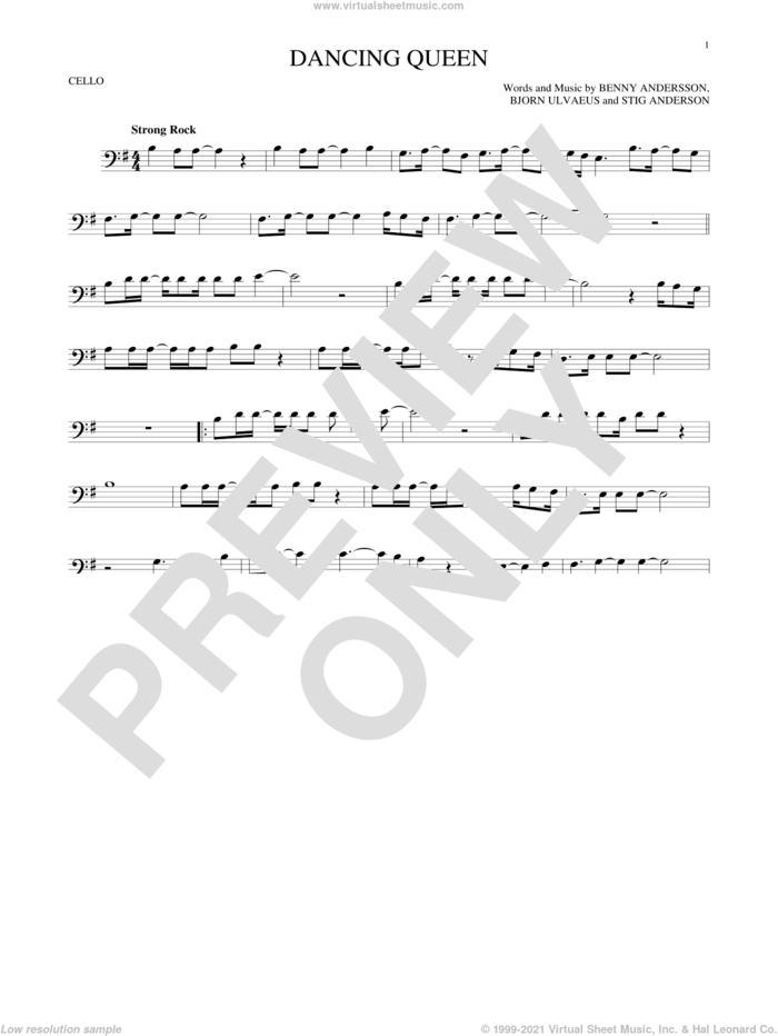 Dancing Queen sheet music for cello solo by ABBA, Benny Andersson, Bjorn Ulvaeus and Stig Anderson, intermediate skill level