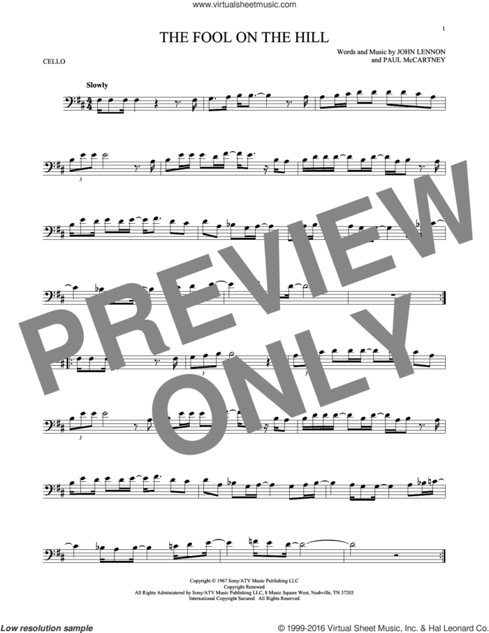 The Fool On The Hill sheet music for cello solo by The Beatles, John Lennon and Paul McCartney, intermediate skill level