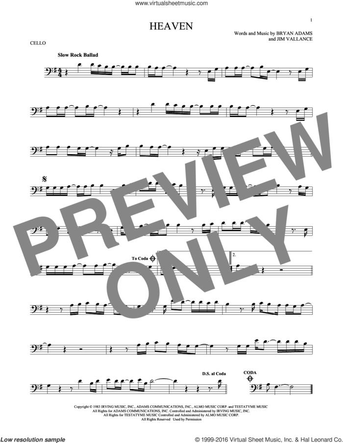 Heaven sheet music for cello solo by Bryan Adams, DJ Sammy & Yanou Featuring Do and Jim Vallance, intermediate skill level