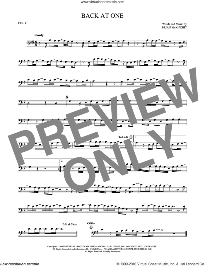 Back At One sheet music for cello solo by Brian McKnight, intermediate skill level