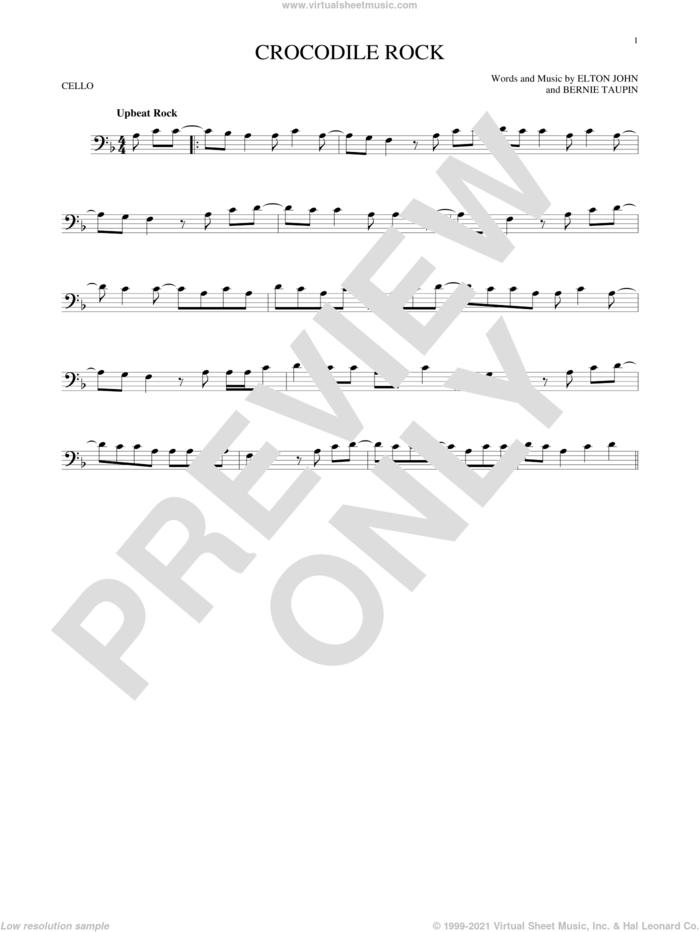 Crocodile Rock sheet music for cello solo by Elton John and Bernie Taupin, intermediate skill level
