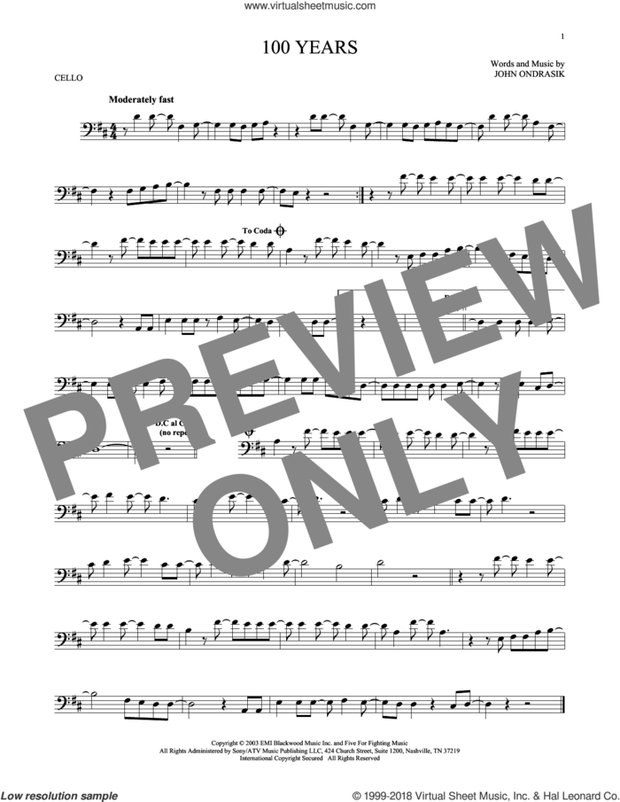 100 Years sheet music for cello solo by Five For Fighting and John Ondrasik, intermediate skill level