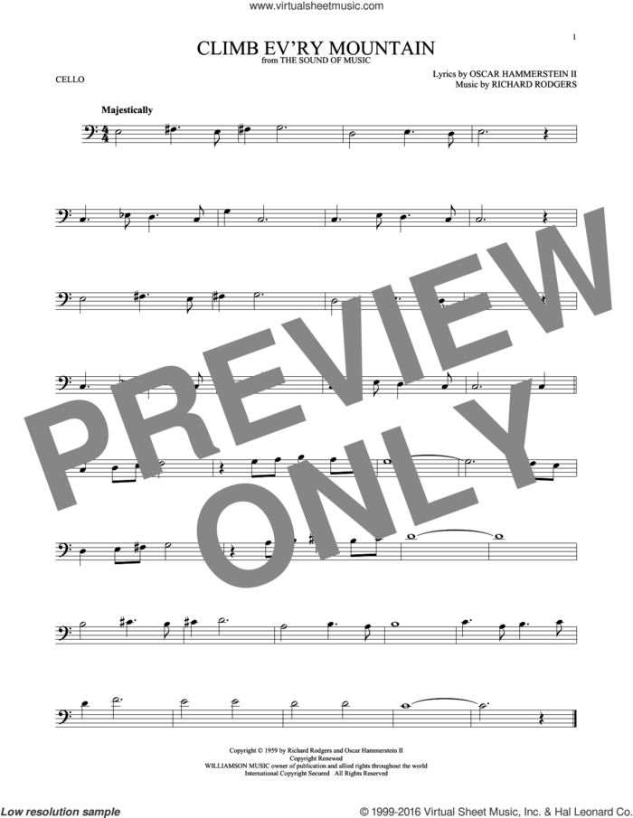 Climb Ev'ry Mountain sheet music for cello solo by Rodgers & Hammerstein, Margery McKay, Patricia Neway, Tony Bennett, Oscar II Hammerstein and Richard Rodgers, intermediate skill level