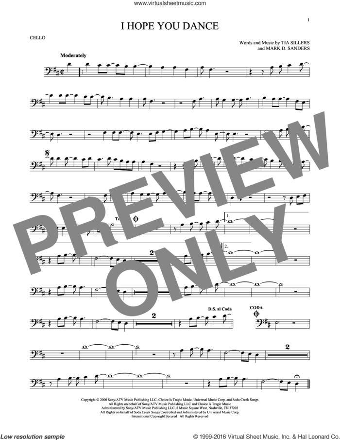 I Hope You Dance sheet music for cello solo by Lee Ann Womack with Sons of the Desert, Mark D. Sanders and Tia Sillers, intermediate skill level