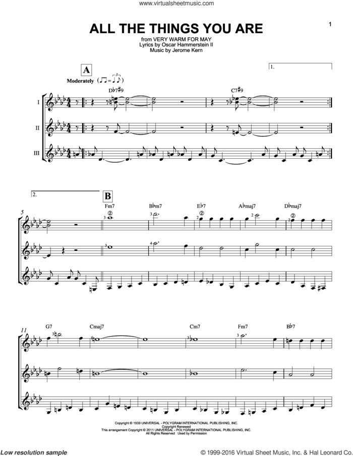 All The Things You Are sheet music for guitar ensemble by Jerome Kern, Jack Leonard with Tommy Dorsey Orchestra and Oscar II Hammerstein, intermediate skill level