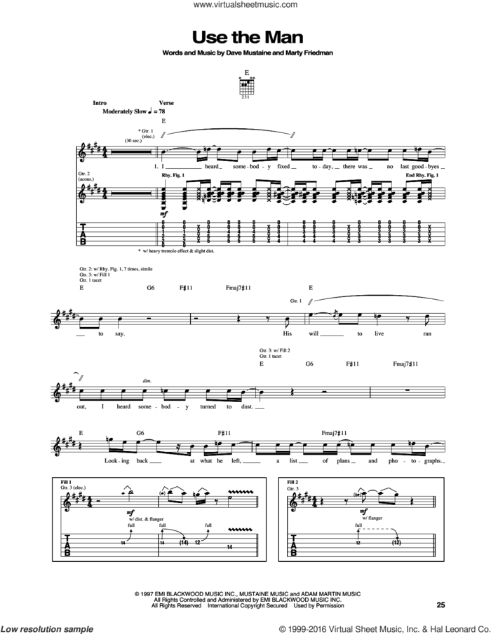 Use The Man sheet music for guitar (tablature) by Megadeth, Dave Mustaine and Marty Friedman, intermediate skill level