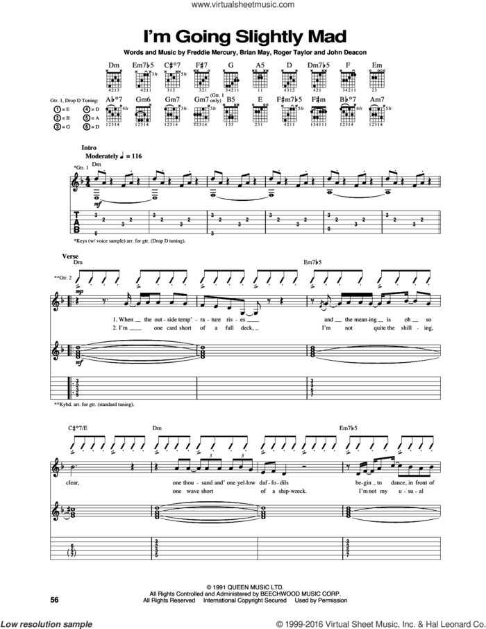 I'm Going Slightly Mad sheet music for guitar (tablature) by Queen, Brian May, Freddie Mercury, John Deacon and Roger Taylor, intermediate skill level