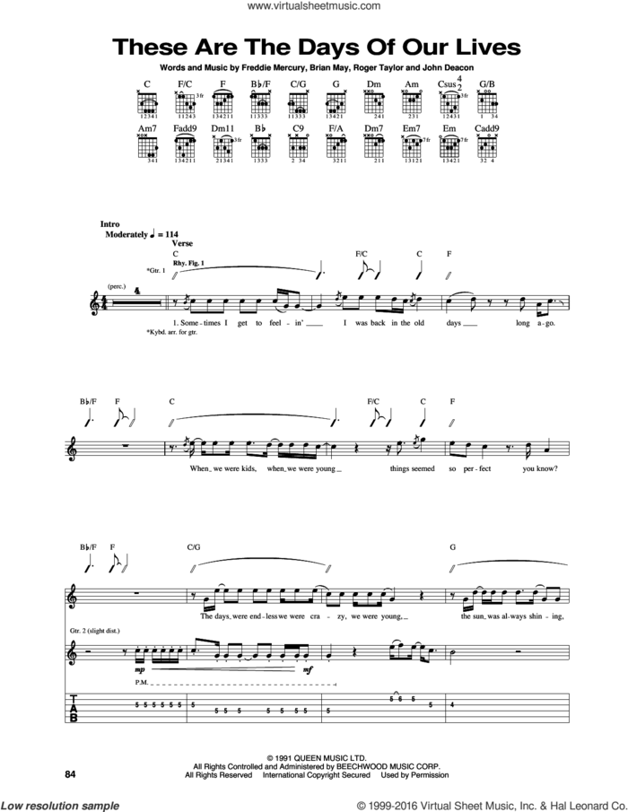 These Are The Days Of Our Lives sheet music for guitar (tablature) by Queen, Brian May, Freddie Mercury, John Deacon and Roger Taylor, intermediate skill level
