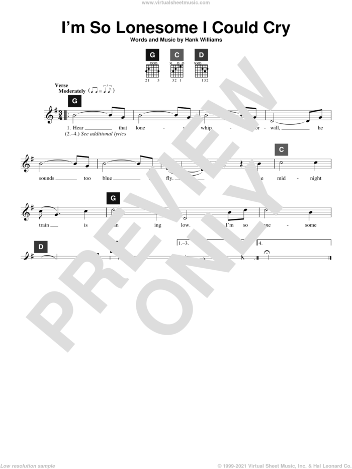 I'm So Lonesome I Could Cry sheet music for guitar solo (ChordBuddy system) by Hank Williams, B.J. Thomas, Elvis Presley and Travis Perry, intermediate guitar (ChordBuddy system)