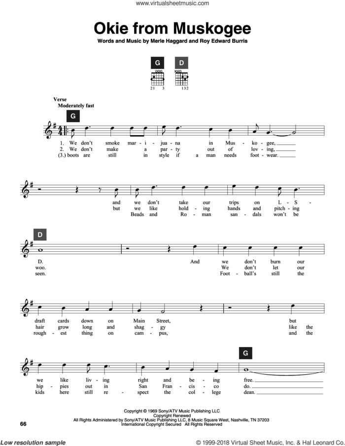 Okie From Muskogee sheet music for guitar solo (ChordBuddy system) by Merle Haggard, Travis Perry and Roy Edward Burris, intermediate guitar (ChordBuddy system)