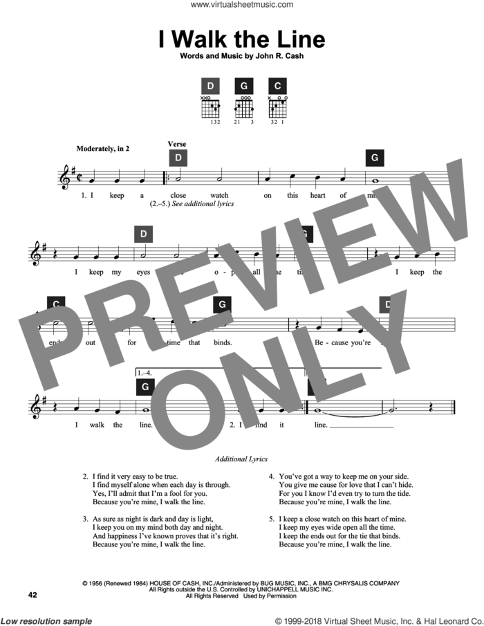 I Walk The Line sheet music for guitar solo (ChordBuddy system) by Johnny Cash and Travis Perry, intermediate guitar (ChordBuddy system)