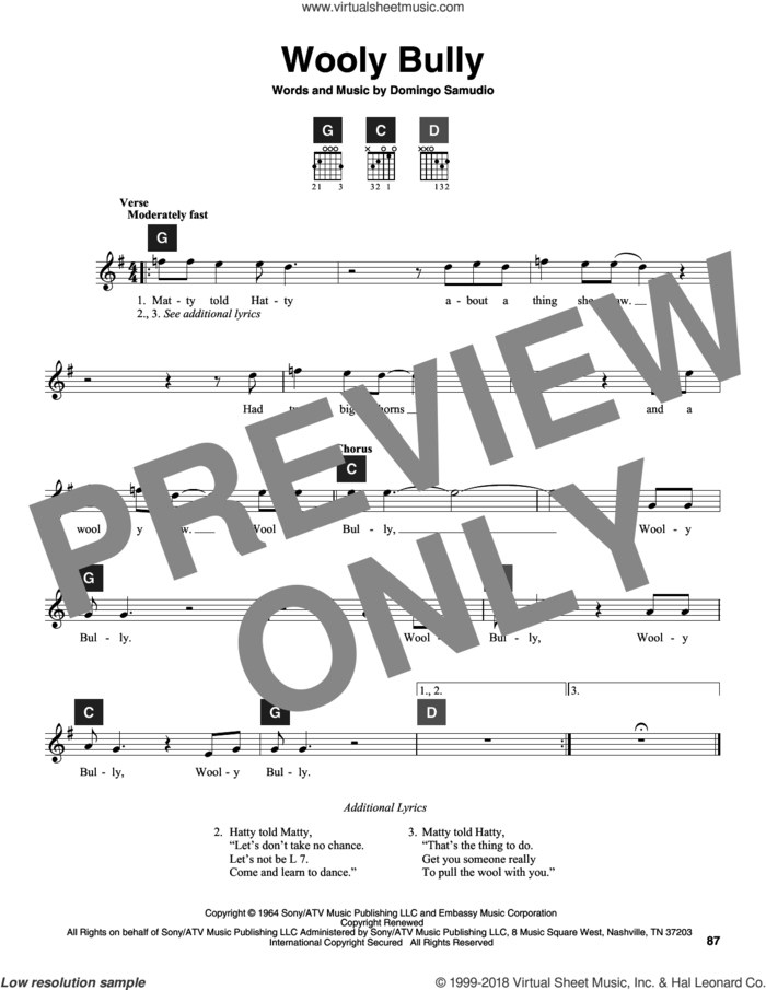 Wooly Bully sheet music for guitar solo (ChordBuddy system) by Sam The Sham & The Pharaohs, Travis Perry and Domingo Samudio, intermediate guitar (ChordBuddy system)