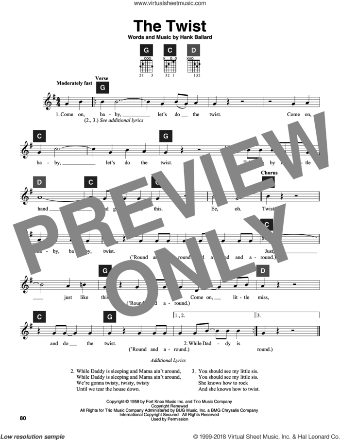 The Twist sheet music for guitar solo (ChordBuddy system) by Chubby Checker, Travis Perry and Hank Ballard, intermediate guitar (ChordBuddy system)