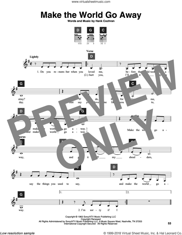 Make The World Go Away sheet music for guitar solo (ChordBuddy system) by Eddy Arnold, Elvis Presley, Travis Perry and Hank Cochran, intermediate guitar (ChordBuddy system)