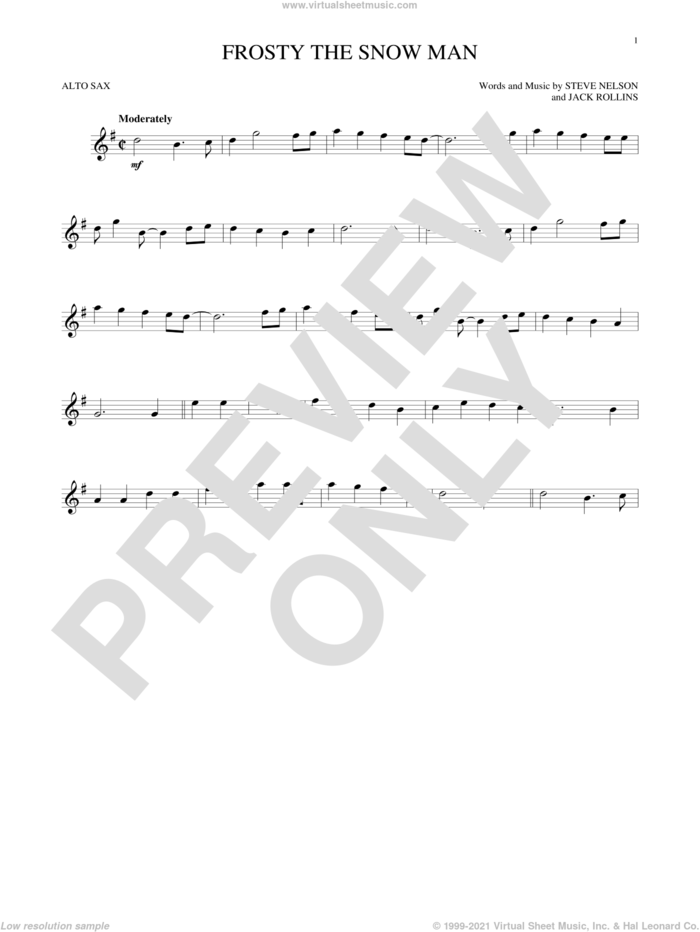 Frosty The Snow Man sheet music for alto saxophone solo by Jack Rollins and Steve Nelson, intermediate skill level