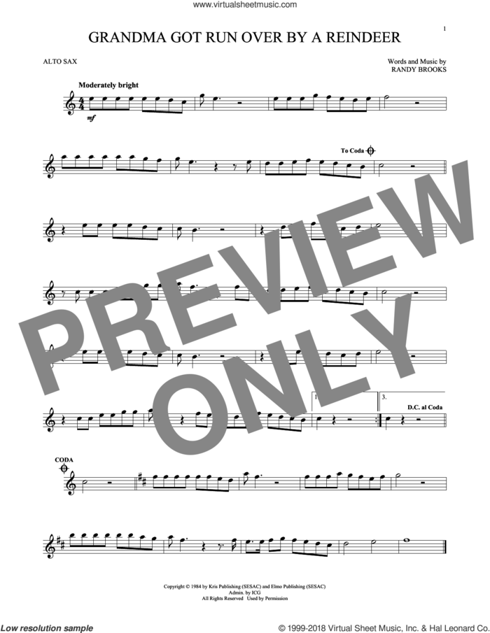 Grandma Got Run Over By A Reindeer sheet music for alto saxophone solo by Randy Brooks, intermediate skill level