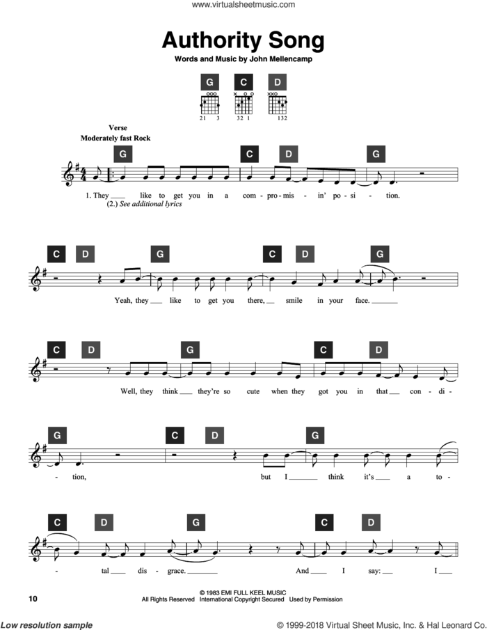 Authority Song sheet music for guitar solo (ChordBuddy system) by John Mellencamp, intermediate guitar (ChordBuddy system)