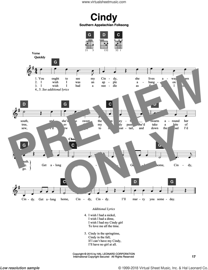 Cindy sheet music for guitar solo (ChordBuddy system) by Southern Appalachian Folksong, intermediate guitar (ChordBuddy system)