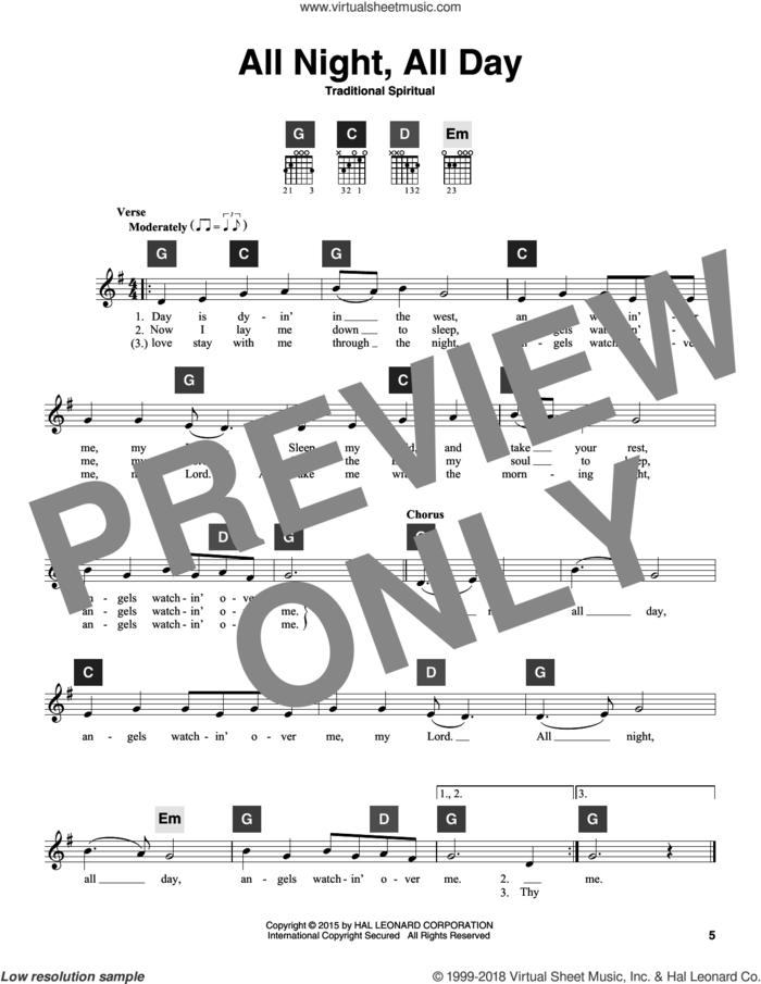 All Night, All Day sheet music for guitar solo (ChordBuddy system), intermediate guitar (ChordBuddy system)