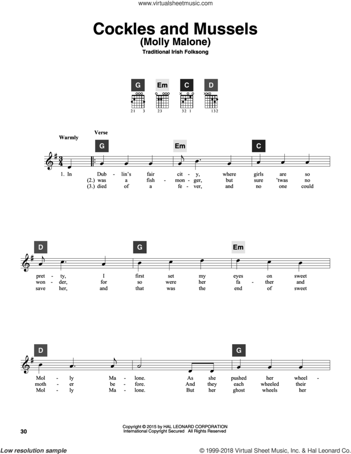 Cockles And Mussels (Molly Malone) sheet music for guitar solo (ChordBuddy system) by Traditional Irish Folksong, intermediate guitar (ChordBuddy system)