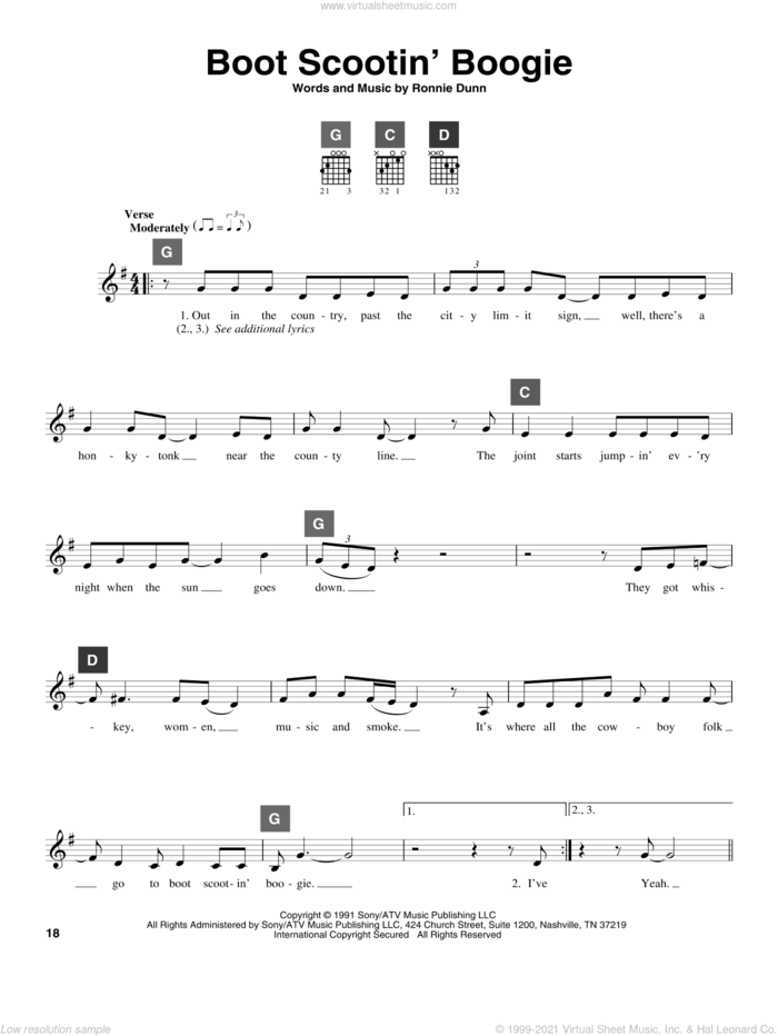 Boot Scootin' Boogie sheet music for guitar solo (ChordBuddy system) by Brooks & Dunn and Ronnie Dunn, intermediate guitar (ChordBuddy system)