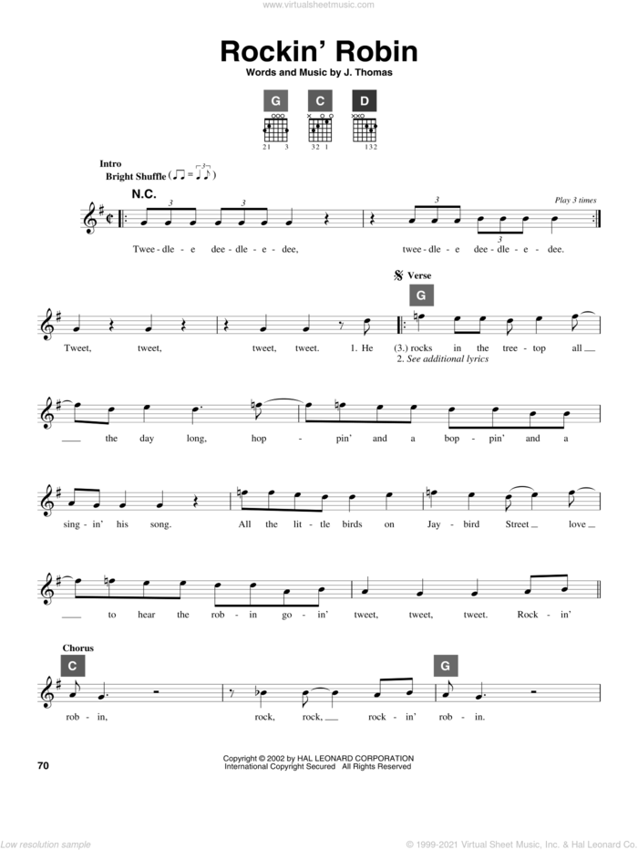 Rockin' Robin sheet music for guitar solo (ChordBuddy system) by Michael Jackson, Bobby Day and Thomas Jimmie, intermediate guitar (ChordBuddy system)