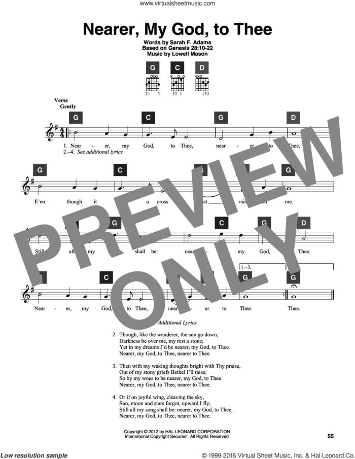 Nearer, My God, To Thee sheet music for guitar solo (ChordBuddy system) by Lowell Mason, Genesis 28:10-22 and Sarah F. Adams, intermediate guitar (ChordBuddy system)