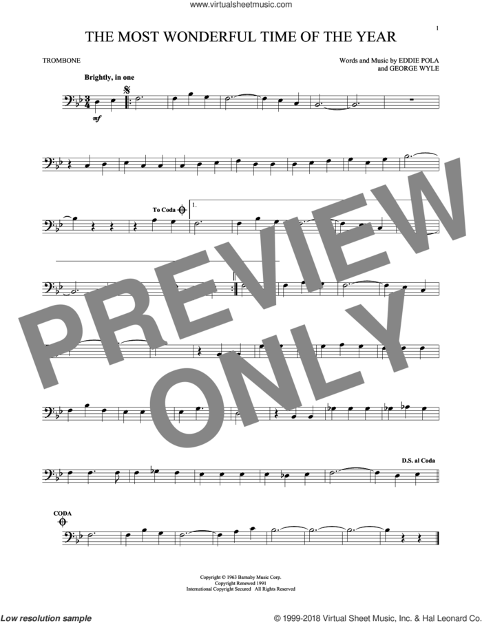 The Most Wonderful Time Of The Year sheet music for trombone solo by George Wyle, Andy Williams, Eddie Pola and George Wyle & Eddie Pola, intermediate skill level