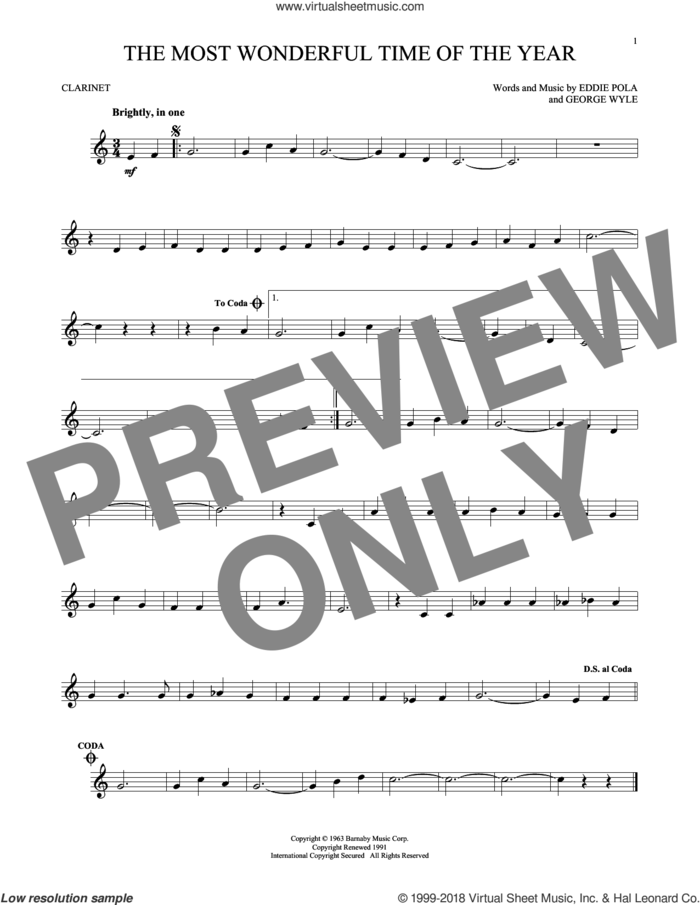 The Most Wonderful Time Of The Year sheet music for clarinet solo by George Wyle, Andy Williams, Eddie Pola and George Wyle & Eddie Pola, intermediate skill level