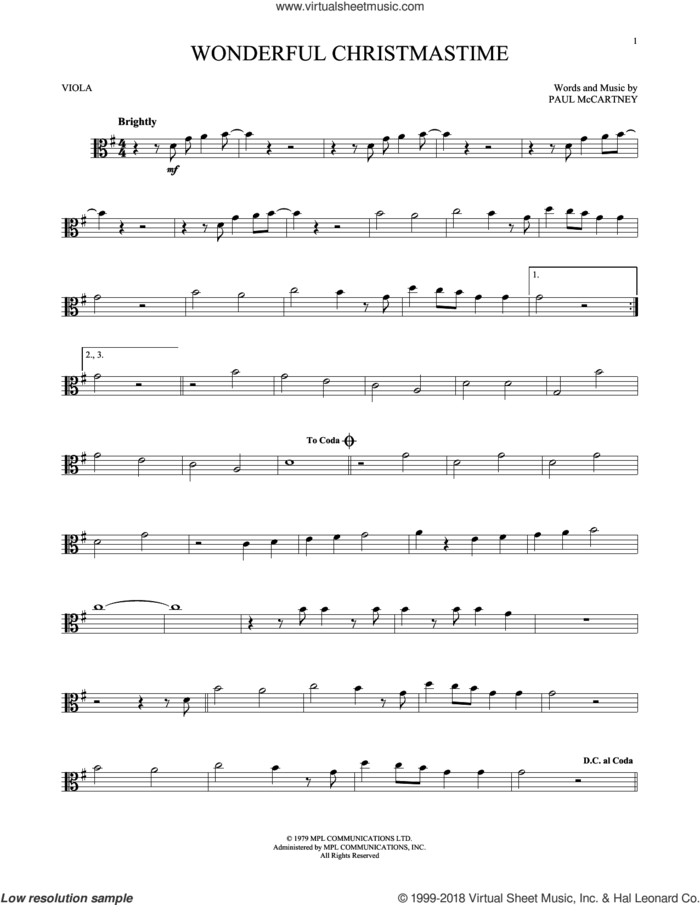 Wonderful Christmastime sheet music for viola solo by Paul McCartney, Eli Young Band and Straight No Chaser featuring Paul McCartney, intermediate skill level