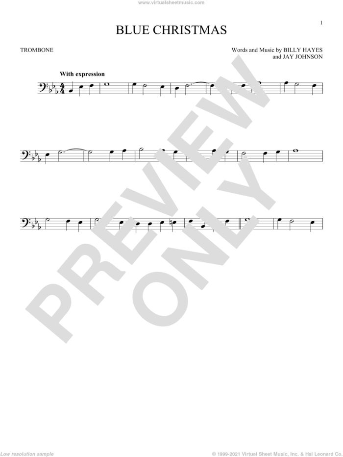 Blue Christmas sheet music for trombone solo by Elvis Presley, Browns and Billy Hayes, intermediate skill level